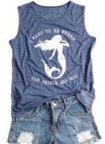 Women's Summer Letters Print Sleeveless Casual T-Shirt Mermaid Tank Top Vest