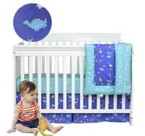 Brandream Dinosaurs Crib Bedding Sets for Boys Baby Navy Blue Nursery Bedding 3 Piece Cotton Comforter Sets with Dinosaur, Hot Baby Shower Gift