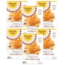 Simple Mills Almond Flour Crackers, Smoky BBQ Cheddar, Gluten Free, Flax Seed, Sunflower Seeds, Corn Free, Better for you Snacks, Made with whole foods, 6 Count, (Packaging May Vary)