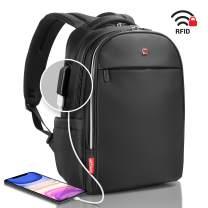 "Laptop Backpack Black RFID Blocking - Travel Backpack USB Quick Charge - Swiss Design 15"" Business College School Waterproof Backpack for Men Women, New Model"
