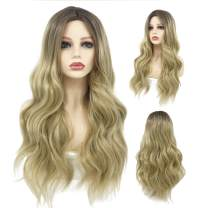 Peerless Long Wavy Wig 27 Inches Ombre Blonde Wigs For Women Daily Use Costume Party Makeup Middle Part With Natural Hairline Long Blonde Wig Heat Resistant Fiber Synthetic Wig