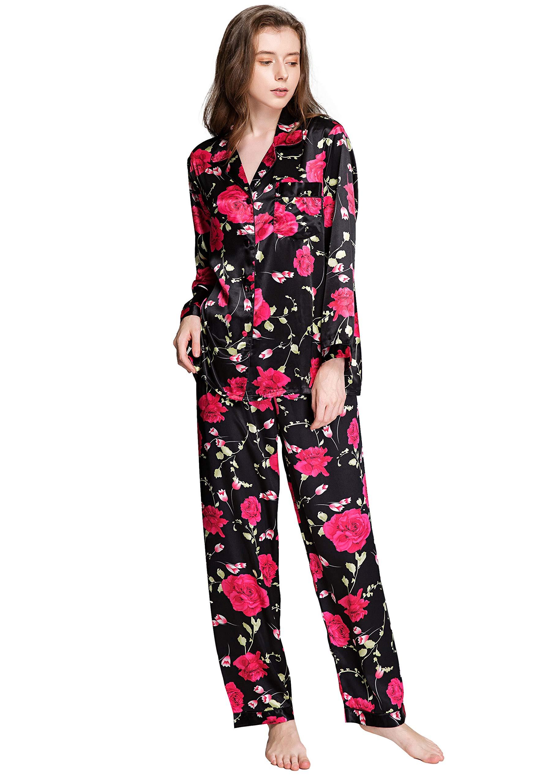 Lonxu Womens Silk Satin Pajamas Set Sleepwear Loungewear XS~3XL Plus