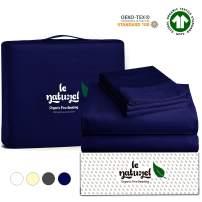Le Naturel Organic Cotton Bed Sheets Queen - Organic Navy Blue Sheets - 300 Thread Count Organic Cotton - Organic Cotton Sateen Sheets - Deep Pocket Organic Cotton Sheets - GOTS Certified Sheets