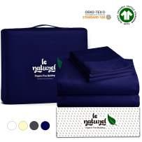 Le Naturel Organic Cotton Bed Sheets King - Organic Navy Blue Sheets - 300 Thread Count Organic Cotton - Organic Cotton Sateen Sheets - Deep Pocket Organic Cotton Sheets - GOTS Certified Sheets