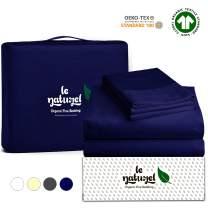 Le Naturel Organic Cotton Bed Sheets Full - Organic Navy Blue Sheets - 300 Thread Count Organic Cotton - Organic Cotton Sateen Sheets - Deep Pocket Organic Cotton Sheets - GOTS Certified Sheets