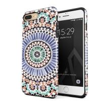 BURGA Phone Case Compatible with iPhone 7 Plus / 8 Plus - Pastel Illusion Moroccan Marrakesh Tile Pattern Colorful Mosaic Heavy Duty Shockproof Dual Layer Hard Shell + Silicone Protective Cover