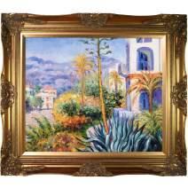 """La Pastiche Villas at Bordighera with Victorian Gold Framed Oil Painting, 32"""" x 28"""", Multi-Color"""