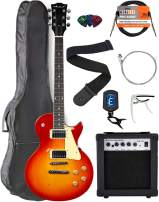 Vault Cherry Red Burst Electric Guitar with Maple Neck Bundle with Gig Bag, 10w Amp, Strap, Tuner, Strings, Instrument Cable, Capo, and Picks