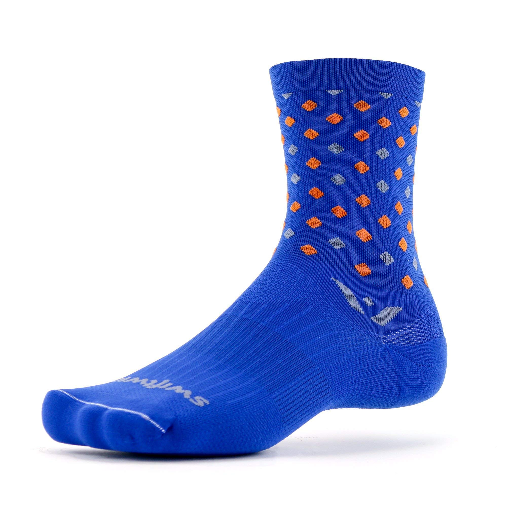 Swiftwick- VISION FIVE RAZZLE Running & Cycling Socks, Performance Crew Socks (Blue, Large)
