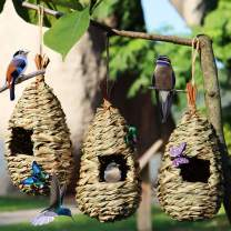 """iLeson Humming Bird Houses for Outside Outdoors Hanging Nesting Clearance Window Garden Hummingbirds Finch 3Pack 4.5"""" × 8.7"""" Handwoven Birdhouses"""