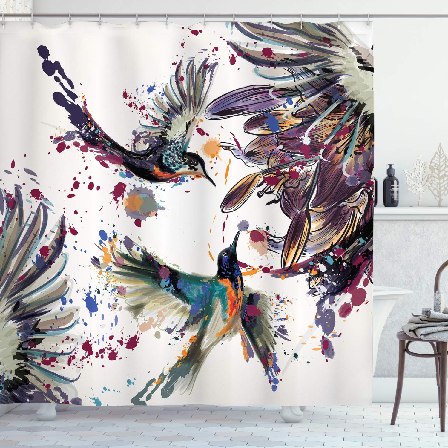 """Ambesonne Hummingbird Shower Curtain, Art with Lily Flowers Birds and Color Splashes in Watercolor Painting Style, Cloth Fabric Bathroom Decor Set with Hooks, 70"""" Long, Orange Blue"""