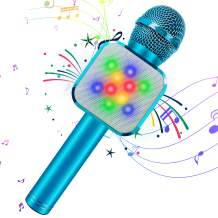 KIDWILL Wireless Bluetooth Karaoke Microphone 5 in 1 Handheld Karaoke Microphone with LED Lights, Portable Microphone for Kids Adults Birthday Party KTV Christmas (Blue)