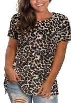 DEFJOOY L-4XL Women's Plus Size T-Shirt Short Sleeve Shirts Crew Neck Tunic Tops