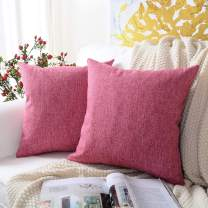 MERNETTE New Year/Christmas Decorations Cotton Linen Blend Decorative Square Throw Pillow Cover Cushion Covers Pillowcase, Home Decor for Party/Xmas 16x16 Inch/40x40 cm, Pink Purple, Set of 2