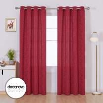 Deconovo Designer Series Grommet Curtains for Sliding Glass Door Living Room Jacquard Floral Curtains Soft Patterned Burgundy Red Window Drapes for Bedroom 52x96 Inch 2 Panels