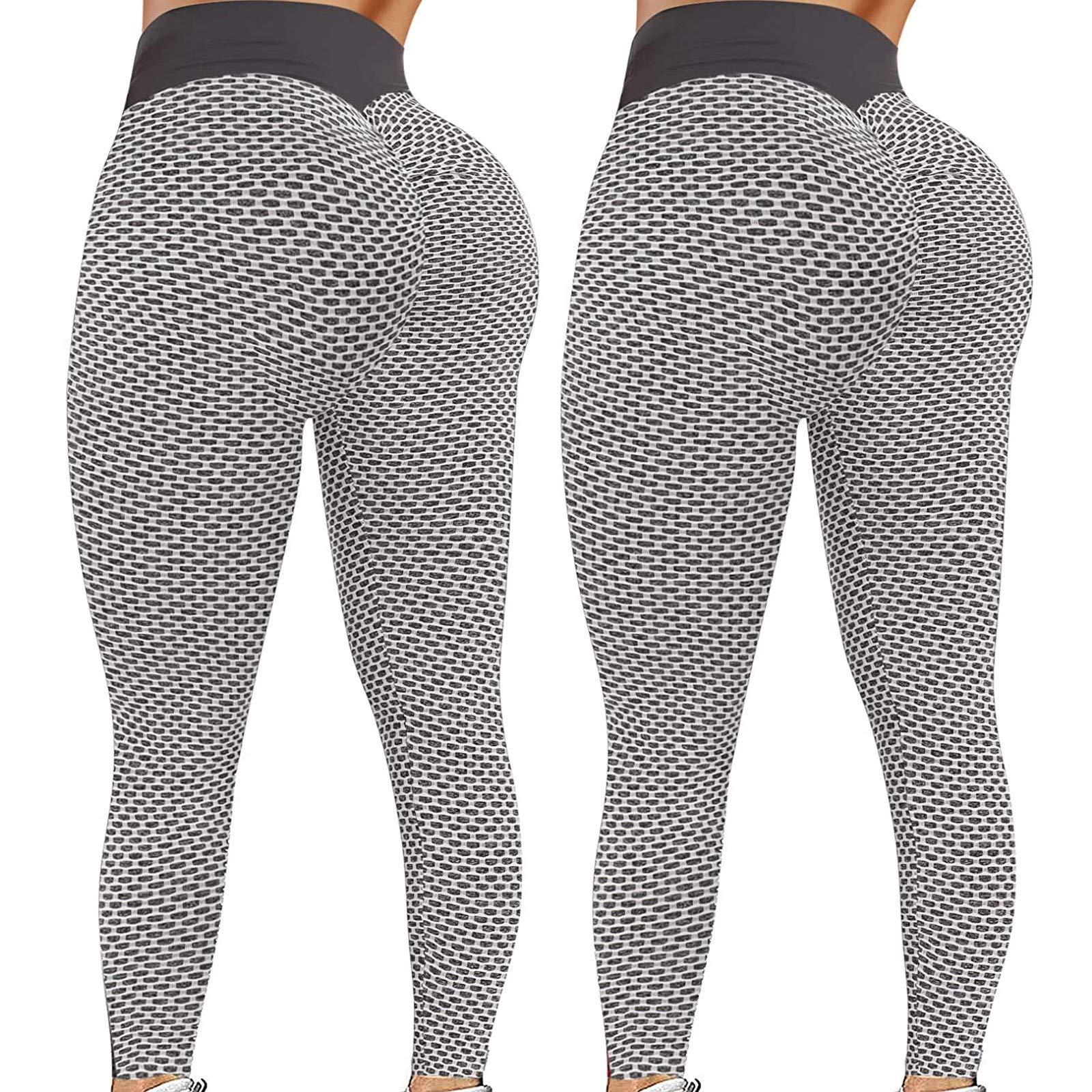 2Pcs Women's High Waist Yoga Pants Booty Lifting TIK Tok Butt Lift Leggings