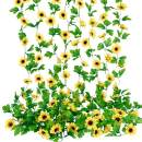 Wholine 8pcs 60ft Artificial Sunflower Garlands Faux Silk Sunflower Vines with Green Leaves for Wedding Table Home Birthday Party Decor