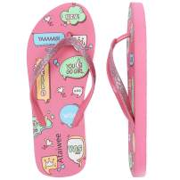 Ataiwee Girl's Flip Flops, Kid's Slip On Beach Thong Sandals with Colorful Printed for Younger Older Children.