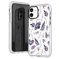 iPhone 11 Clear Case,Cute Girls Women Purple Leaves Succulents Tropical Daisy Floral Flowers Summer Spring Trendy Hipster Elegant Chic Soft Protective Clear Case with Design Compatible for iPhone 11