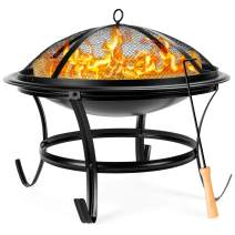 Best Choice Products 22in Steel Outdoor Fire Pit Bowl BBQ Grill w/Screen Cover, Log Grate, Poker for Camping, Bonfire