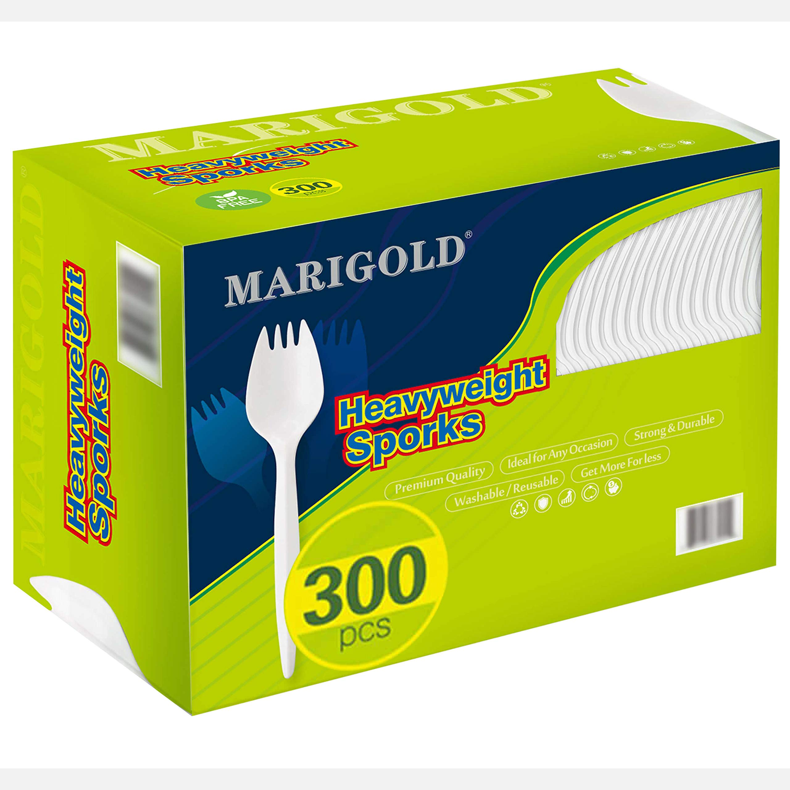 Medium-weight 300Pk Disposable Sporks BPA-Free - MARIGOLD Recyclable cutlery, Eco-Friendly and Kid-Safe Utensils, Great for School Lunch, Picnics or Restaurant and Party Supply Spoons and Forks