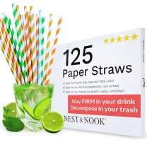 Paper Straws Drinking Disposable - 125 Biodegradable Straws - Bar Straws - Paper Straws Coffee Juice - Eco Friendly Straws Silver Orange Green Blue Gold Paper Straws for Plastic Straws