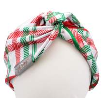 Twist Front Turban Headband With Wire (Red Green White Xmas Plaid)