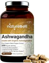 Ashwagandha Powder Capsules, 2250mg Per Serving (Made with Ashwagandha Organic Powder and Black Pepper), 180 Counts, Supports Healthy Nervous System, Mood, Memory and Brain Health, No GMOs