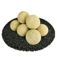 Ceramic Fire Balls | Set of 8 | Modern Accessory for Indoor and Outdoor Fire Pits or Fireplaces – Brushed Concrete Look | Dandelion Yellow, Speckled, 5 Inch