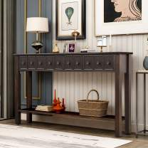 """LZ LEISURE ZONE Console Table, Rustic Entryway Table, 60"""" Long Sofa Table with 2 Drawers and Bottom Shelf for Storage (Black)"""