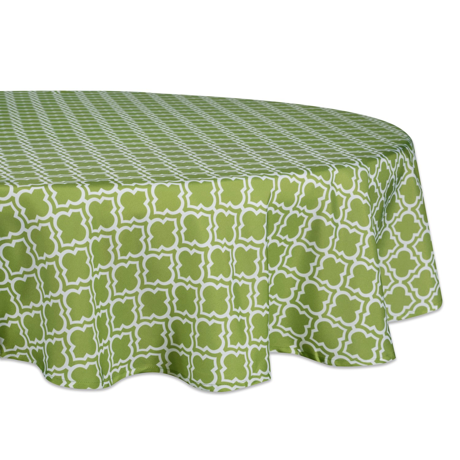 """DII 100% Polyester, Spill Proof, Machine Washable, Tablecloth for Outdoor Use, 60"""" Round, Fresh Spring Lattice, Seats 4 People, Green"""