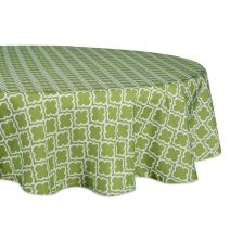 "DII 100% Polyester, Spill Proof, Machine Washable, Tablecloth for Outdoor Use, 60"" Round, Fresh Spring Lattice, Seats 4 People, Green"