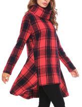 Zeagoo Women's Plaid Asymmetrical Turtleneck Long Sleeve Sweatshirts Tunic Top Midi Dress with Side Pockets