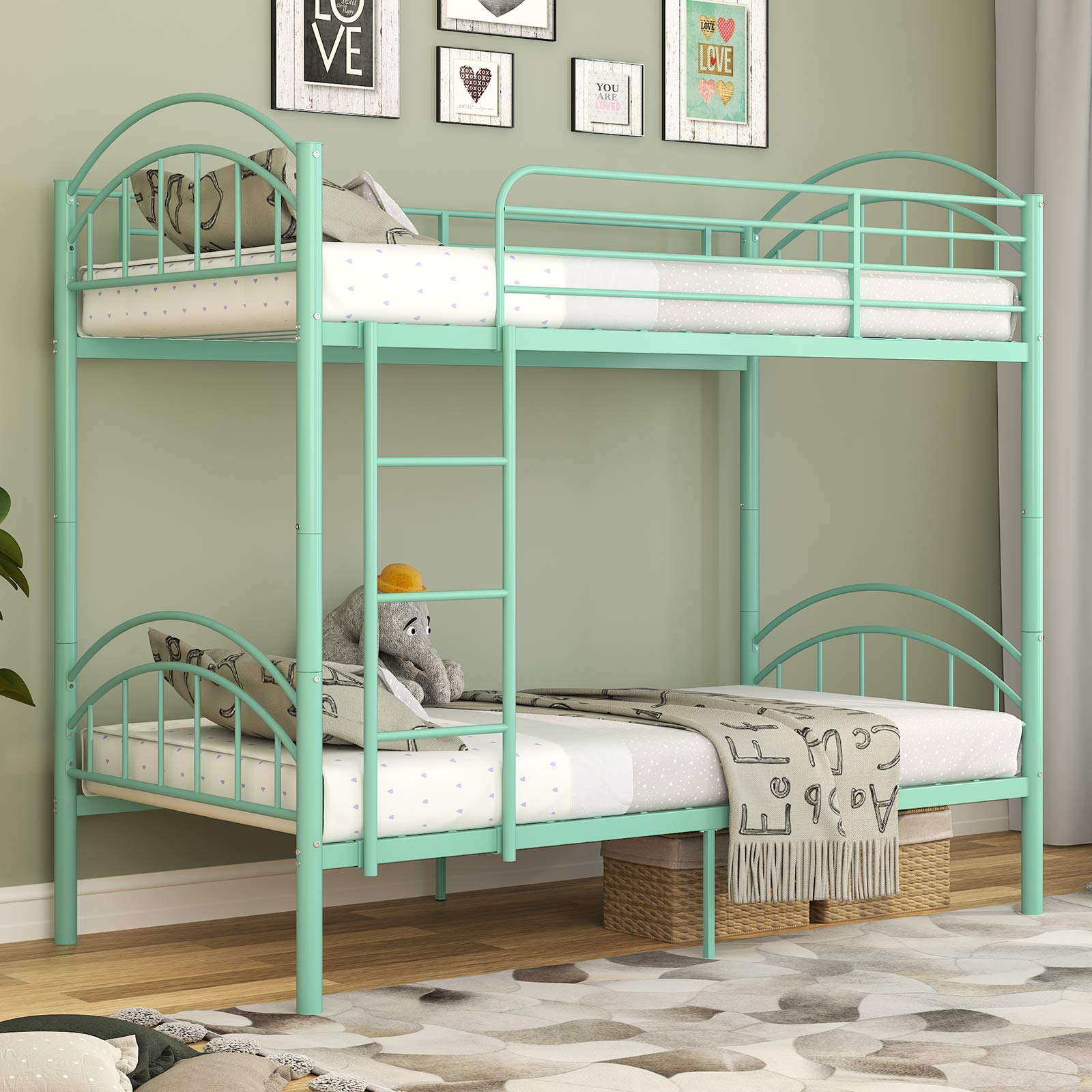 mecor Metal Twin Over Twin Bunk Bed/Convertible Into 2 Individual Bed/Removable Ladder & Safety Guard Rail for Boys, Girls, Kids, Teens(Mint Green)