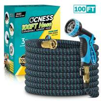 "Expandable Garden Hose, 100ft Lightweight Flexible Water Hose with 9 Function Spray Nozzle, 3/4"" Solid Brass Fittings, Double Latex Core, Durable Fabric, Expanding Hose for Lawn Car Pet Washing"
