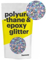 Hemway Metallic Glitter Floor Crystals for Epoxy Resin Flooring (500g) Domestic, Commercial, Industrial - Garage, Basement - Can be Used with Internal & External (Silver Holographic & Stars)