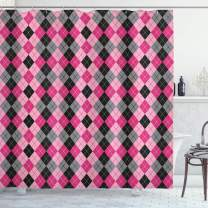 """Ambesonne Abstract Shower Curtain, Argyle Motif with Diamonds and Lozenges Infinite Symmetric Stripes Image, Cloth Fabric Bathroom Decor Set with Hooks, 75"""" Long, Baby Pink"""