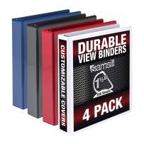 Samsill Duable 1.5 Inch Binder D Ring/Customizable Clear View Binder/Multi Color Pack/Bulk Binder 4 Pack/Blue 3 Ring Binder