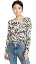 ATM Anthony Thomas Melillo Women's Zebra Print Destroyed Wash Crew Long Sleeve