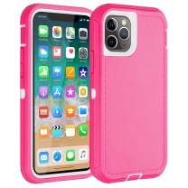 Co-Goldguard iPhone 11 Pro Max Case,Heavy Duty [Litchi Pattern Series] Armor 3 in 1 Rugged Cover with Screen Bumper Shockproof Drop-Proof Tough Shell Cases for iPhone 11 Pro Max 6.5inch,White&Pink