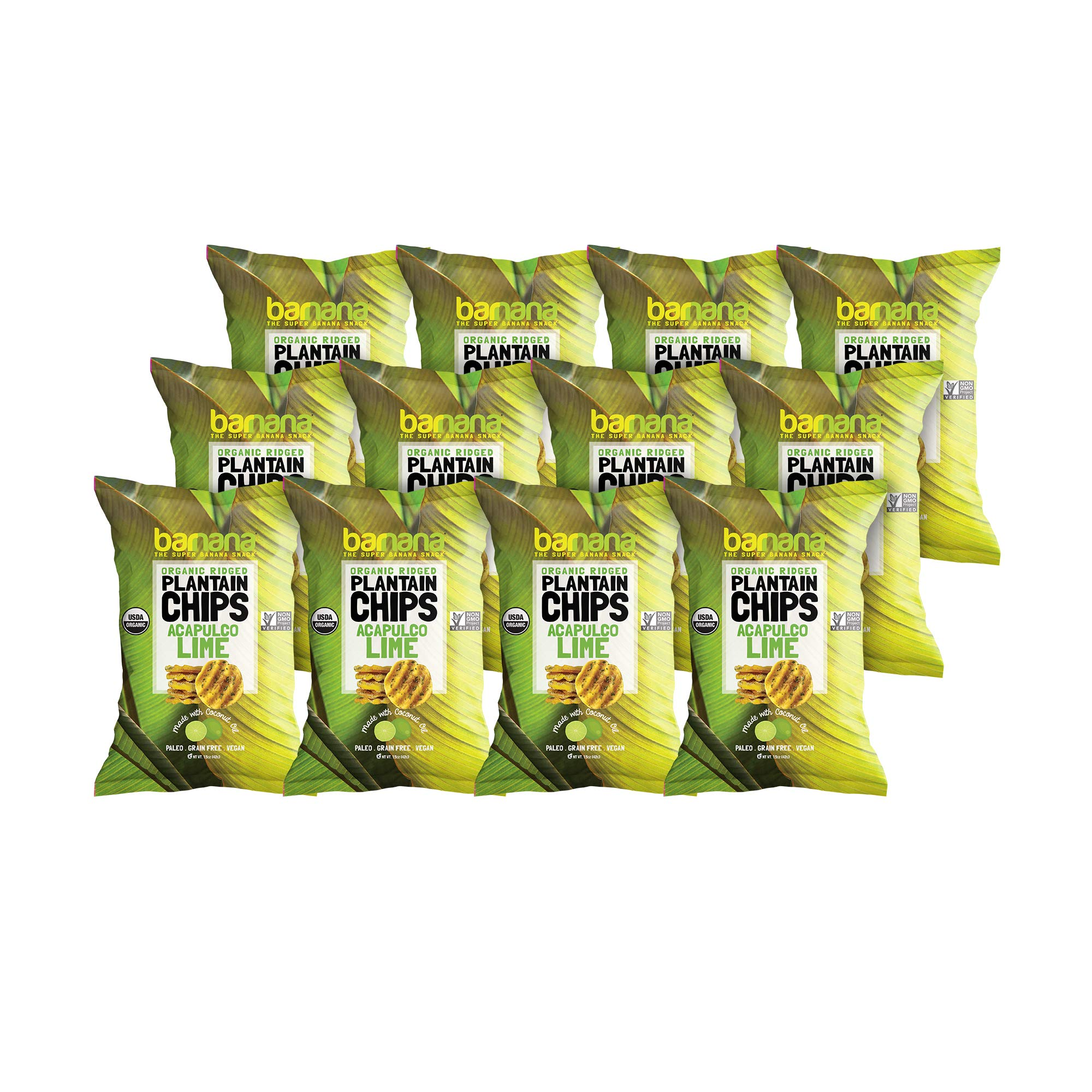 Barnana Organic Plantain Chips - Acapulco Lime - 1.5 Ounce, 12 Pack Plantains - Barnana Salty, Crunchy, Thick Sliced Snack - Best Chip For Your Everyday Life - Cooked in Premium Coconut Oil