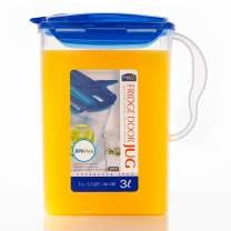 LOCK & LOCK Aqua Fridge Door Water Jug with Handle BPA Free Plastic Pitcher with Flip Top Lid Perfect for Making Teas and Juices, 3 Quarts, Blue