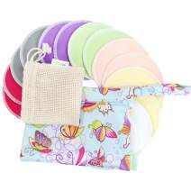 Bamboo Nursing Pads (14 Pack)+Laundry Bag & Travel Bag,2 Sizes:3.9/4.7 inch Option - Washable & Reusable Nursing Pads(Passion, Small, Daytime Use)