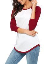 Zeagoo Women Long Raglan Sleeve O Neck Color Block Patchwork Pullover T-Shirt Top