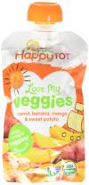 Happy Tot Love My Veggies Organic Carrot Banana Mango and Sweet Potato Blend, 4.22 Ounce, Pack of 16