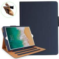 NEWQIANG iPad 5th 6th Generation Case with Hand Strap and Document Pocket - iPad 9.7 inch 2018 2017 Cover - Multi-Angle Stand, Auto Sleep Wake, Shockproof - A1822 A1823 MR7F2LL/A MR7F2LL/A(Navy Blue)