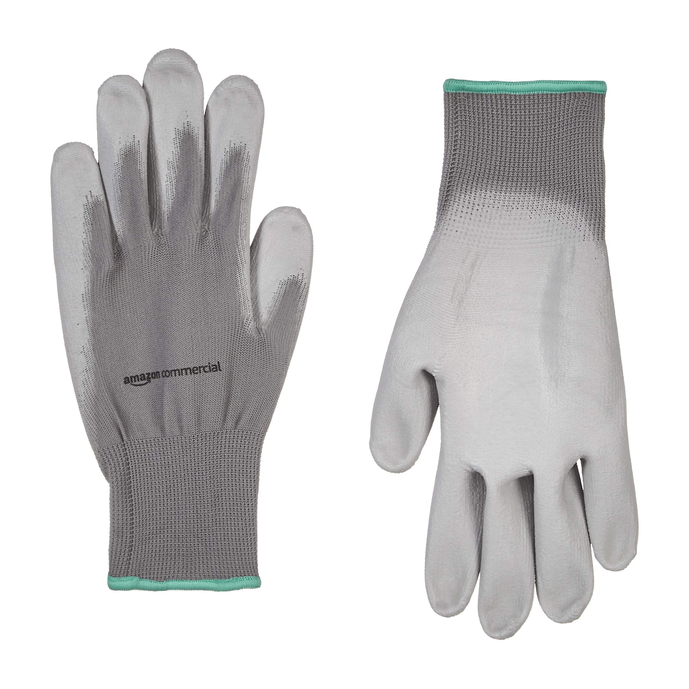 AmazonCommercial 13G Polyester & PU Coated Gloves (Grey), Size M, 12 Pairs
