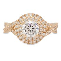 Clara Pucci Round Cut Solitaire Pave Designer Halo Promise Anniversary Bridal Engagement Ring Band 14k Yellow Gold, 1.25CT