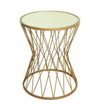 HomePop Hourglass Metal Accent Table Mirror Top, Gold