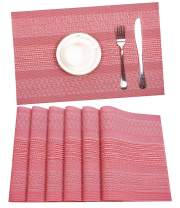 HEBE Placemats, Heat-Resistant Placemats Stain Resistant Anti-Skid Washable PVC Table Place Mats Woven Vinyl Placemat, Set of 6